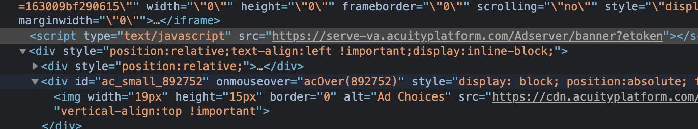 Chrome Developer Tools screenshot showing Acuity Ads' Javascript being utilized alongside Harvard Business School ad creatives.
