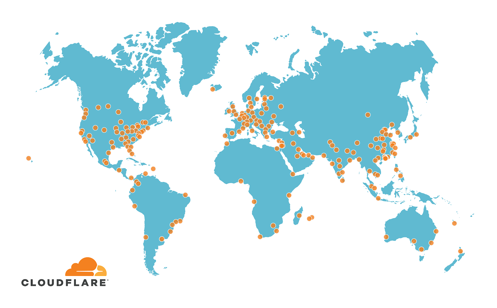Map of the world with dots denoting Cloudflare's geographically diverse presence in 200 cities
