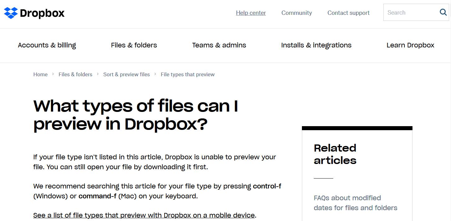 Dropbox knowledge base - HelpCrunch blog