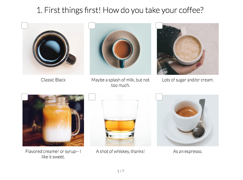 quiz question with images on how you take your coffee