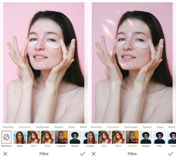 Foto de uma mulher com cabelo liso sendo editada pelo AirBrush