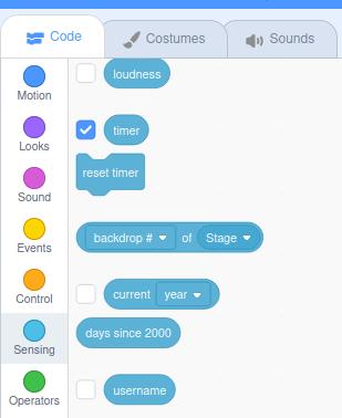 the built-in Scratch timer code block