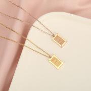 New Korean Style Titanium Steel Necklace Women's Creative Square Goodluck Letter Pendant Maintains Color Simple Choker Wholesale
