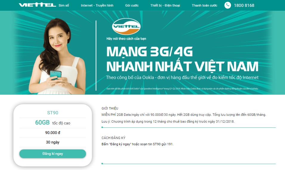 Đăng ký ST90 trực tiếp qua website shop.viettel.vn/data