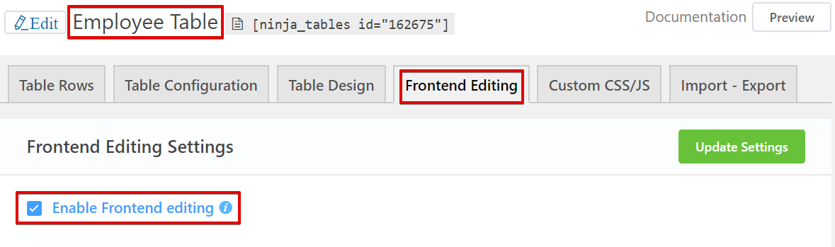 fronted editing in WordPress tables