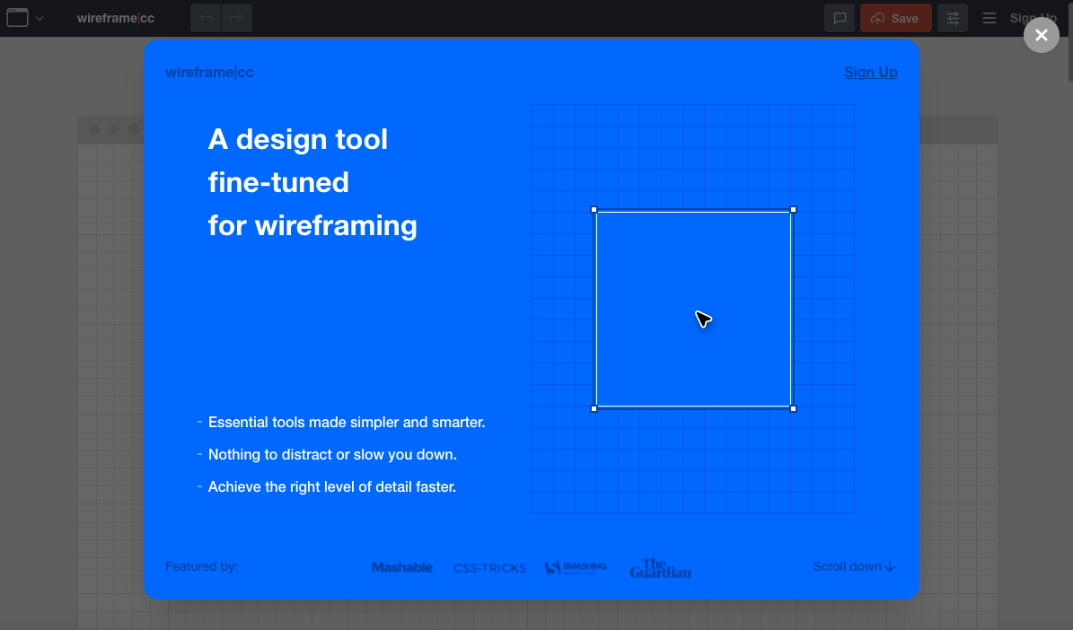 product page for the wireframe tool Wireframe.cc