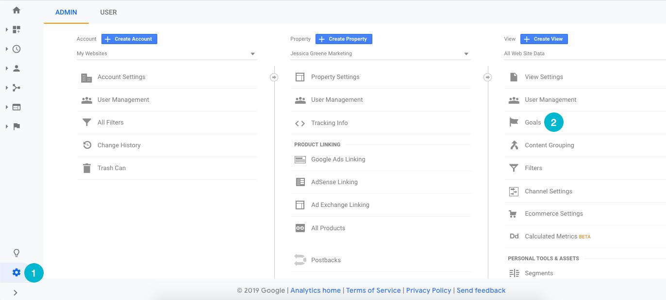 configurer les objectifs de Google Analytics, étape 1