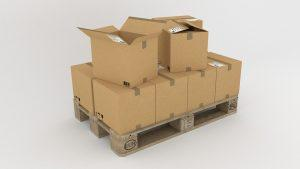 Several sturdy boxes on a pallet.