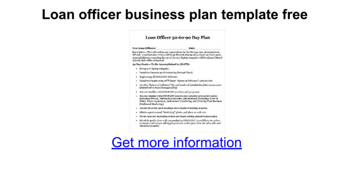 Loan Officer Business Plan Template Image Collections Template