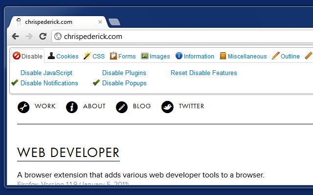 ePlusGo - ekstensi Web Developer untuk menambahkan tools pengembangan web