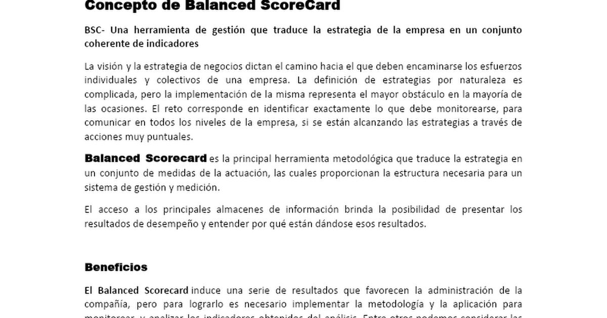 Balanced Scorecard Docx Google Drive