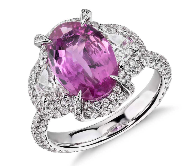 Pink Sapphire and Diamond Halo Ring from Blue Nile