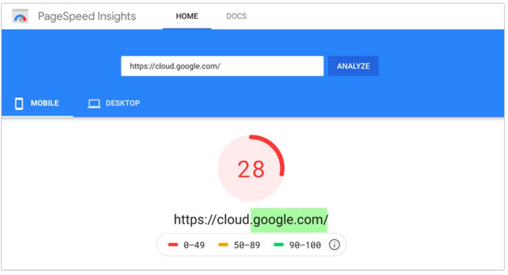 Un ejemplo de puntaje de PageSpeed Insights de 28