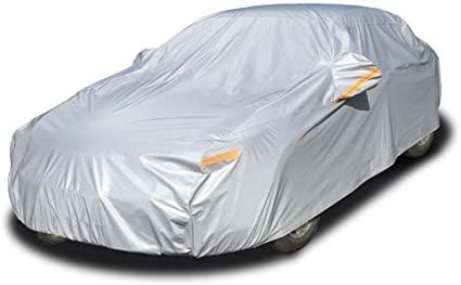 "Kayme 6 Layers Car Cover Waterproof All Weather for Automobiles, Outdoor Full Cover Rain Sun UV Protection with Zipper Cotton, Universal Fit for Sedan (194""-208"")"