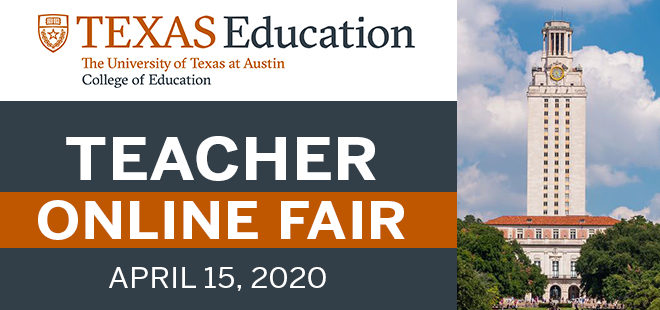 UT Austin Teacher Virtual Career Fair Banner
