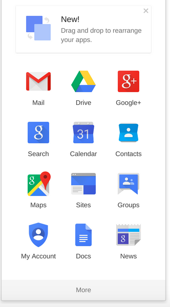 Screenshot of Google app launcher
