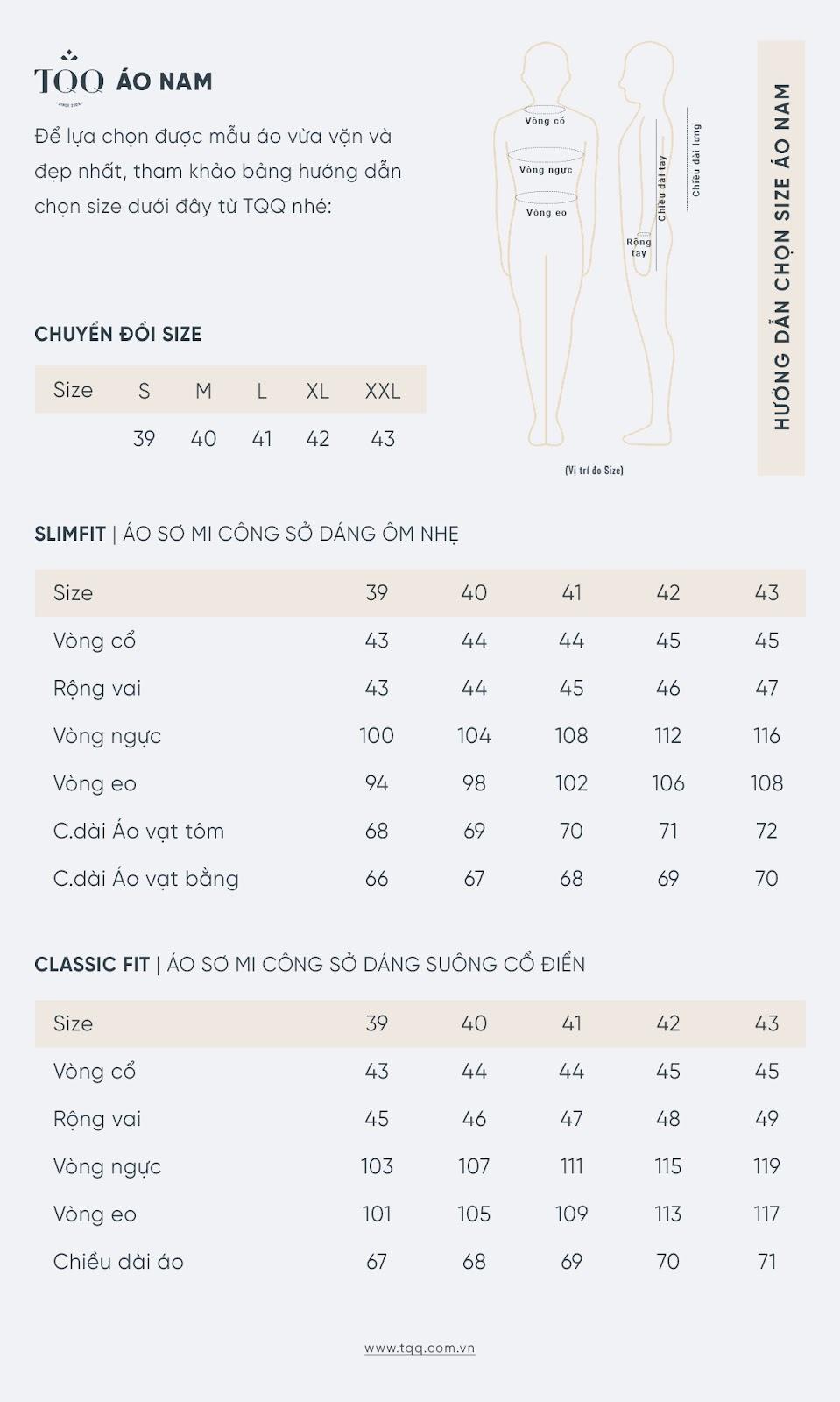 Bảng size áo sơ mi slimfit và classic fit theo số đo cơ thể