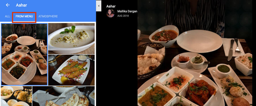 google my business for restaurants images map listing
