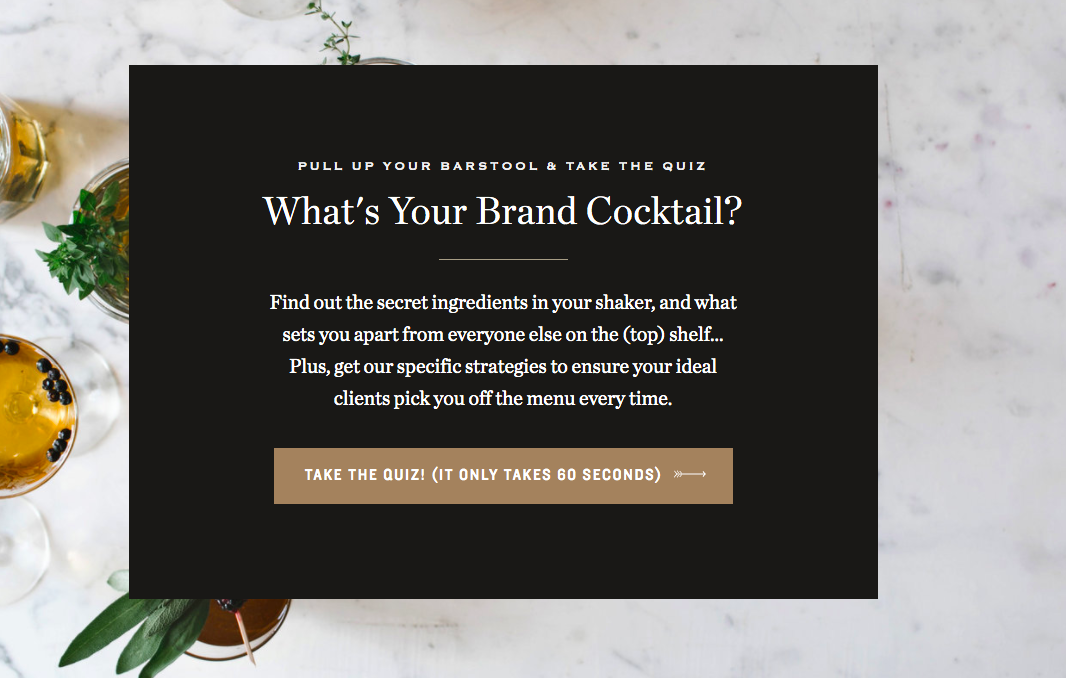 What's your brand cocktail quiz highlighted on website