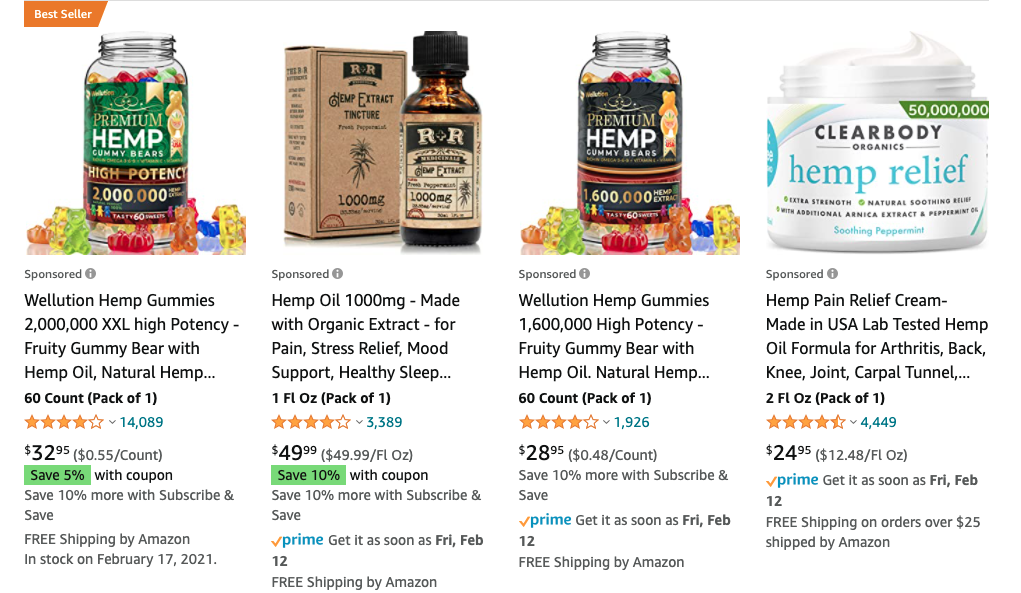 Hemp products on Amazon