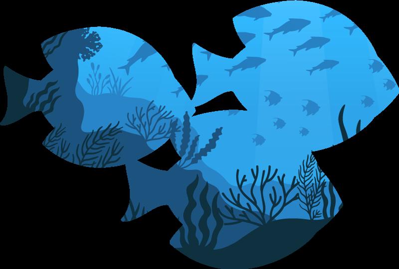 Aquarium fish bathroom wall sticker - TenStickers