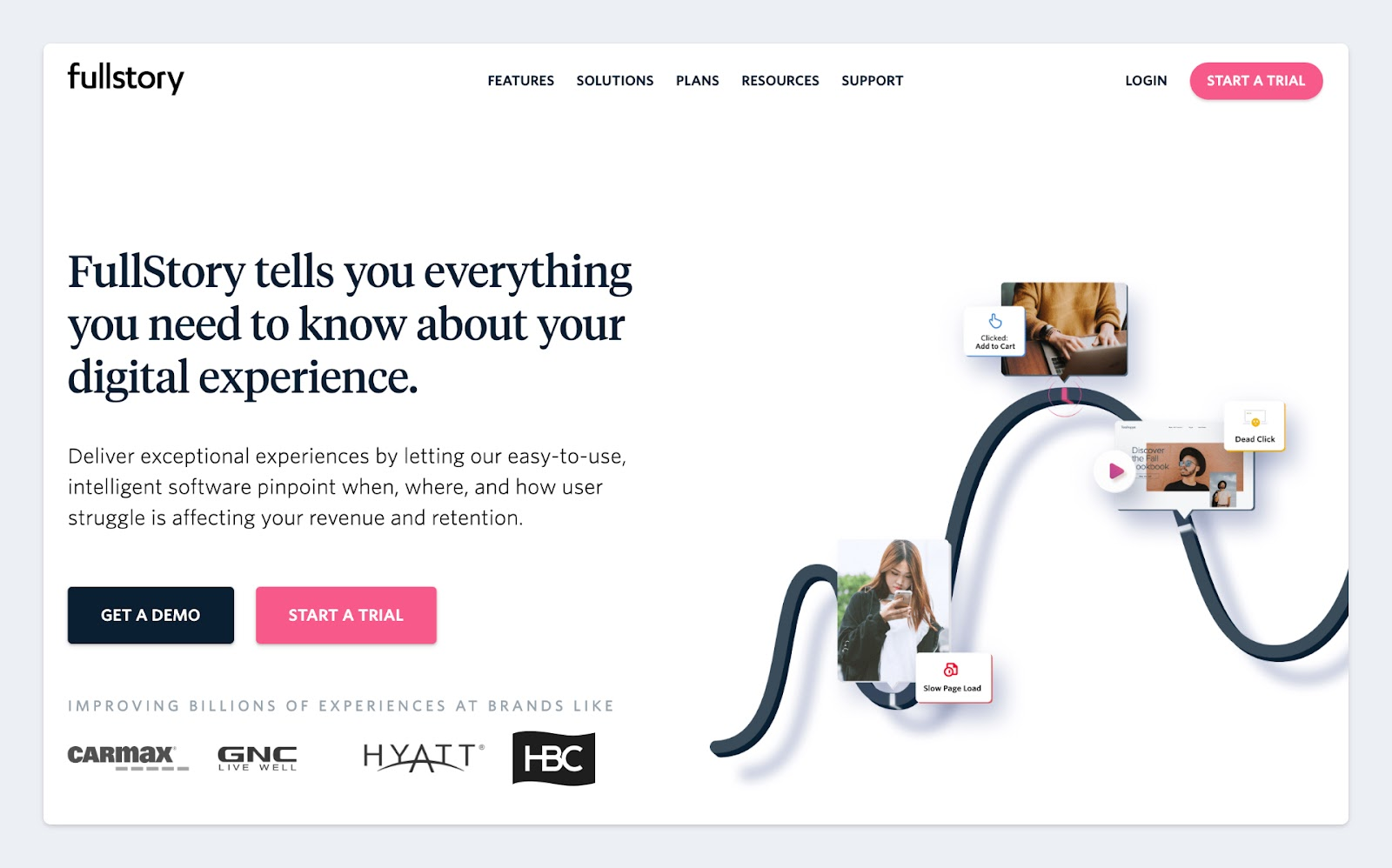 Fullstory makes use of high contrast buttons for important CTAs on their website.