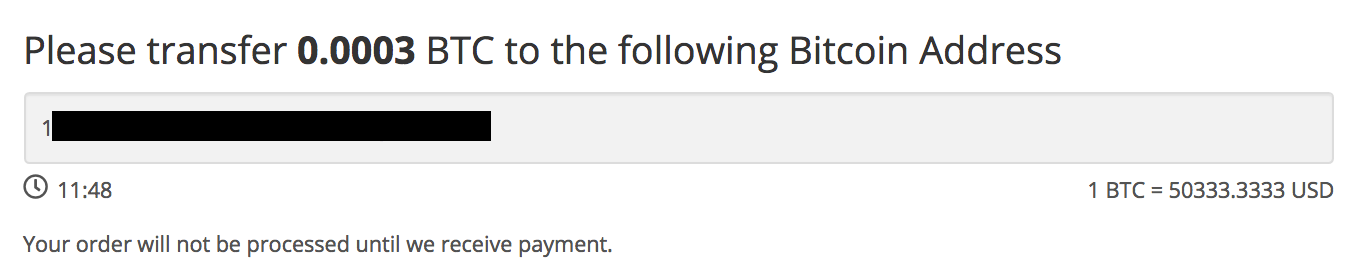 A screenshot image of the Happy Hippo Payment Checkout Option for Bitcoin - Indicating an example of the current bitcoin address