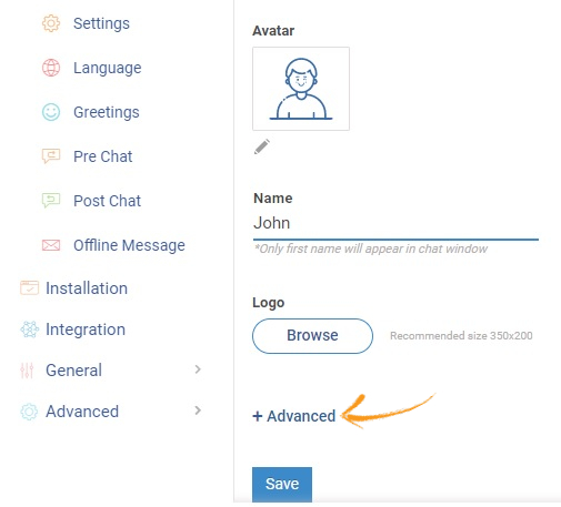 customize visitor chat window