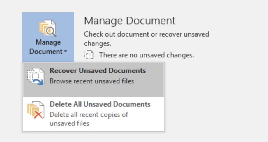 How to recover unsaved documents