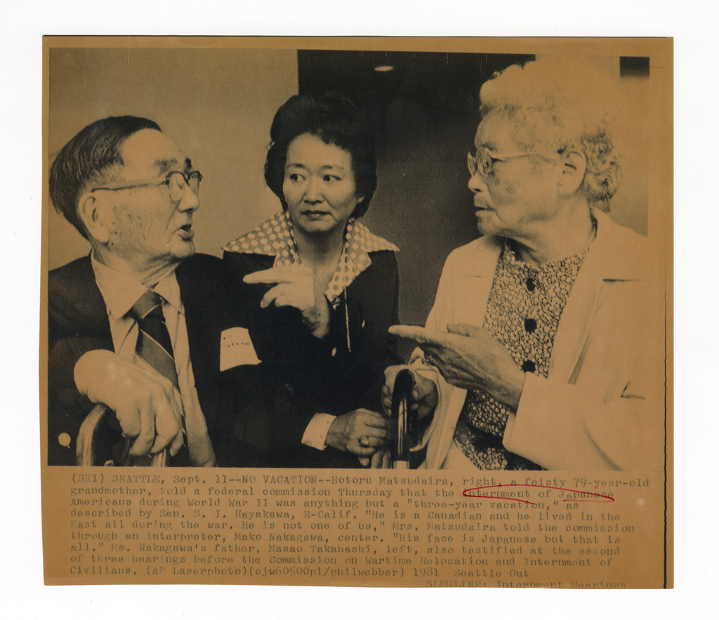 Issei witnesses Masao Takahashi and Hotoru Matsudaira, who testified at the Seattle redress hearings, and Mako Nakagawa, Masao's daughter, who served as their interpreter.
