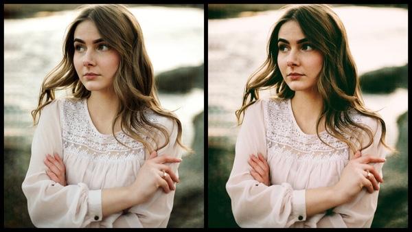 antes e depois da foto de uma mulher morena sendo que uma das fotos está sendo utilizado o filtro Rosegold do AirBrush