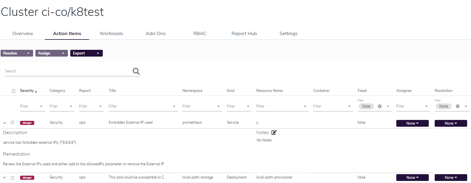 Screen shot of Fairwinds Insights Action Items