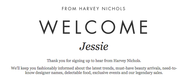 Harvey Nichols welcome email