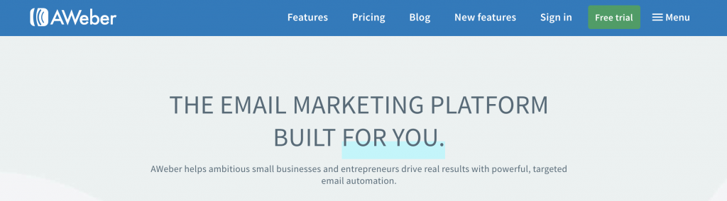 AWeber email marketing service landing page