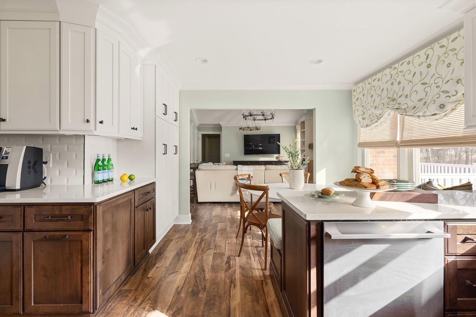Superior construction and design Lebanon, TN 1970s Ranch Reno open concept neutral color kitchens into living area