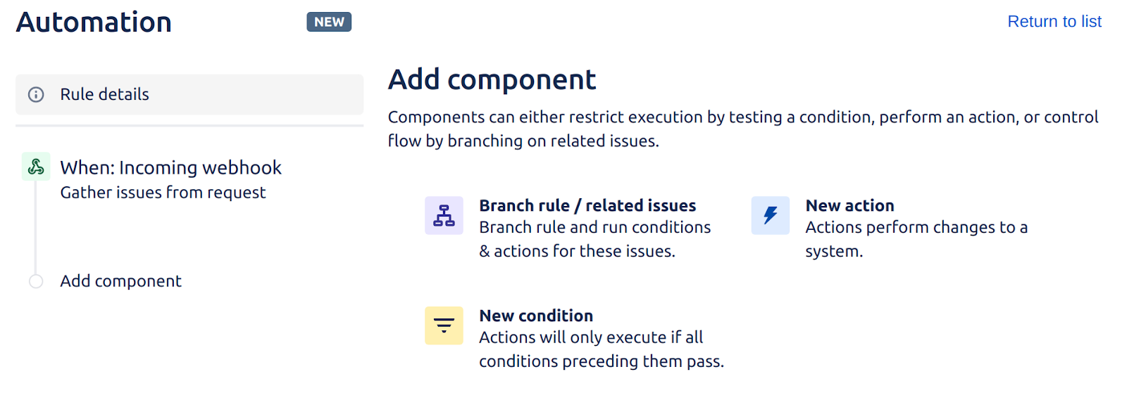 """Jira's automation interface for """"add component"""""""