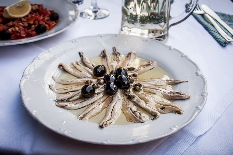 Anchovies, Eat, Starter, Salt Anchovy, Olives