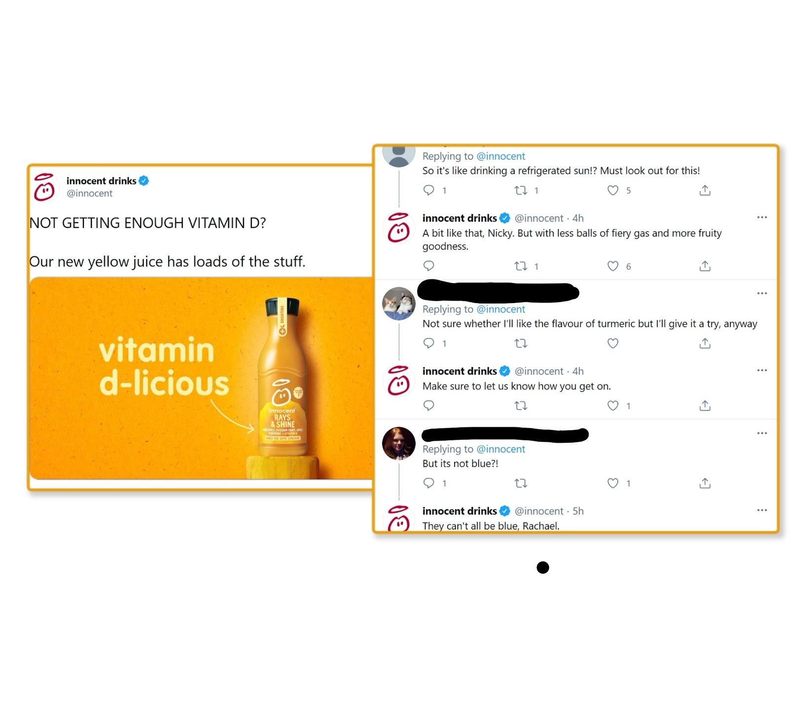 innocent drinks customer replies on twitter