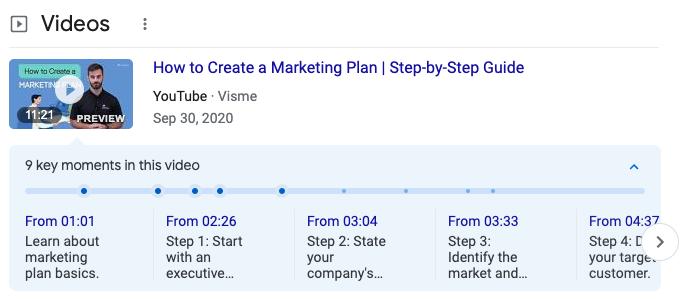 Screenshot displaying video chapters
