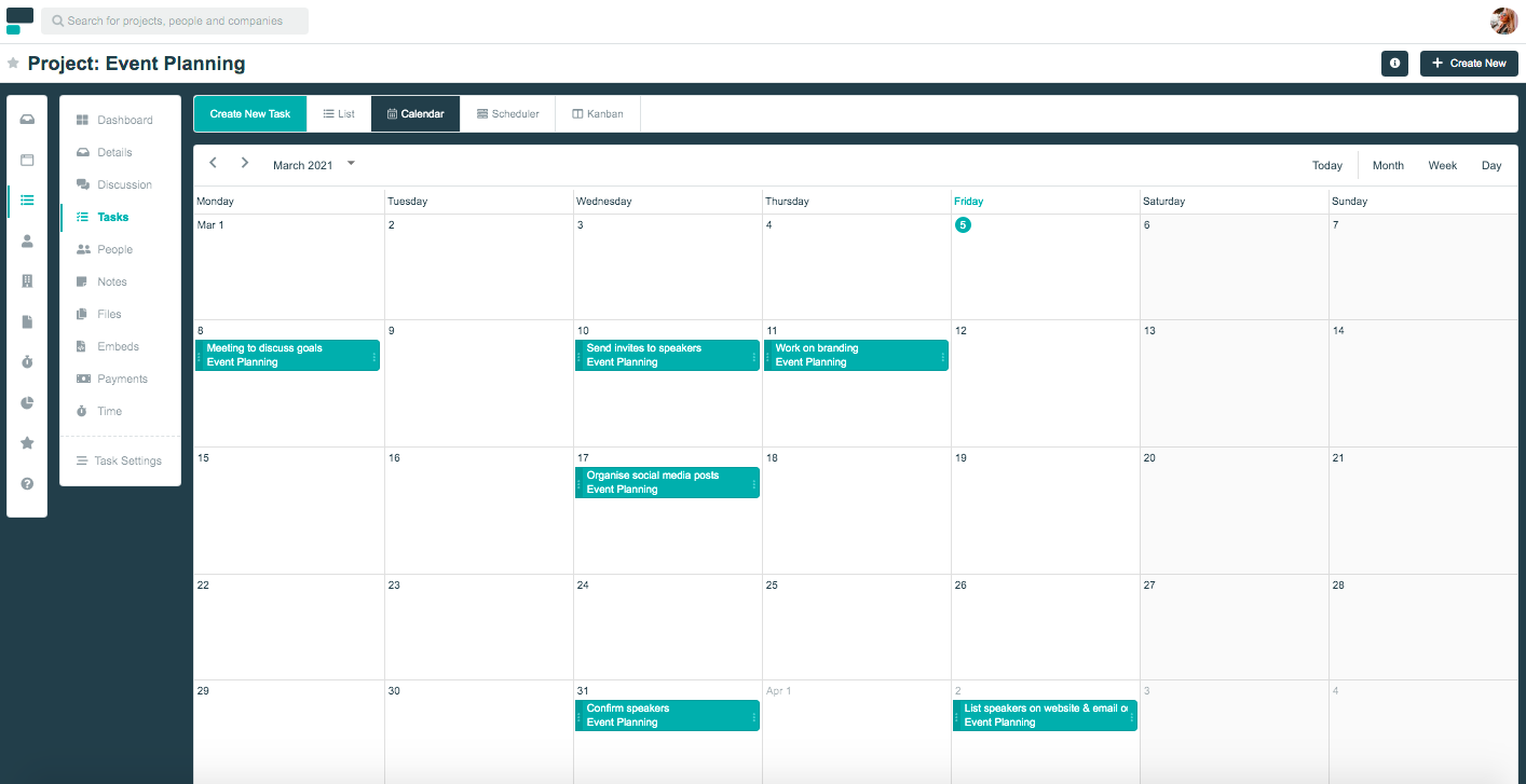 Project.co calendar view