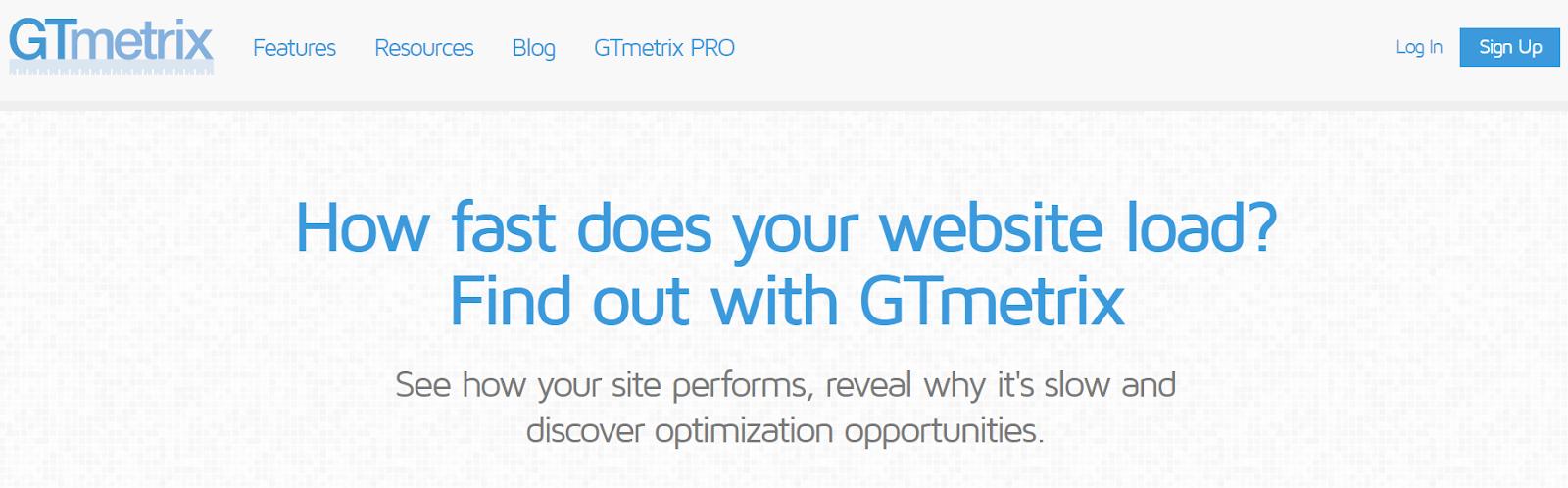 GTmetrix website load speed