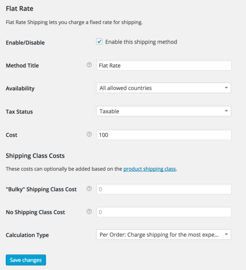 Flat Rate Shipping Options in Core WooCommerce Shipping settings