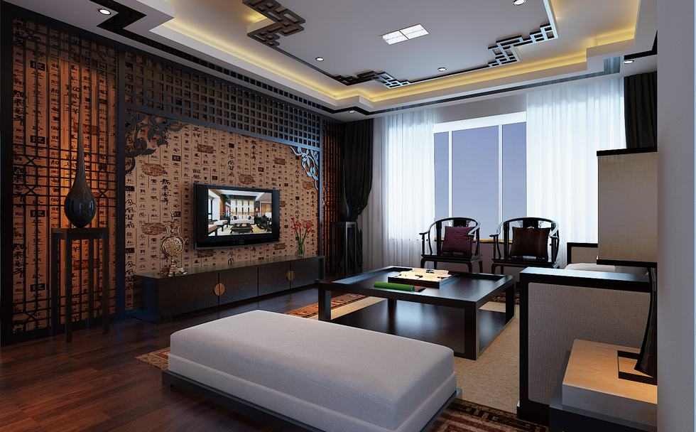 Phòng khách theo lối kiến trúc của Trung Quốc