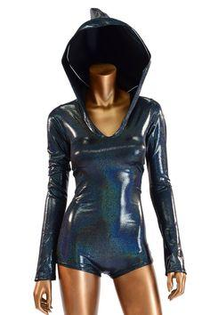 Long Sleeve Black Holographic Metallic Bodysuit Romper Hologram Hoodie with Boy Cut Leg Rave Clubwear Onsie -E8231