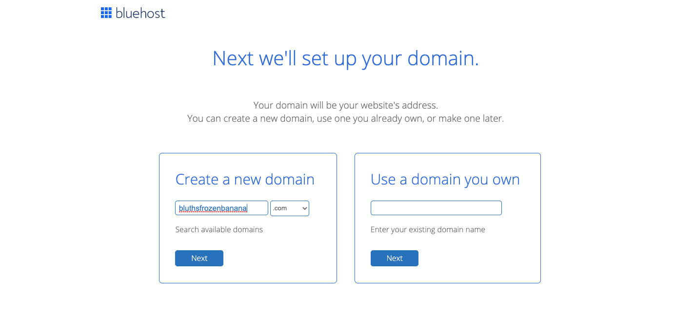 Screenshot of bluehost domain registration page