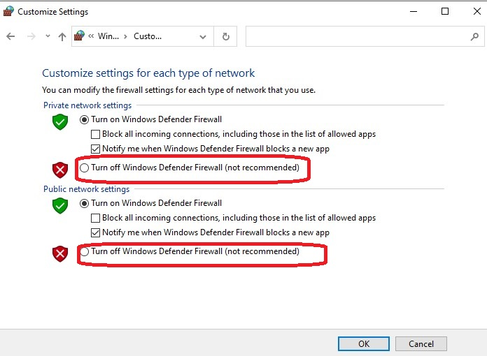 Turn Windows Firewall off or on