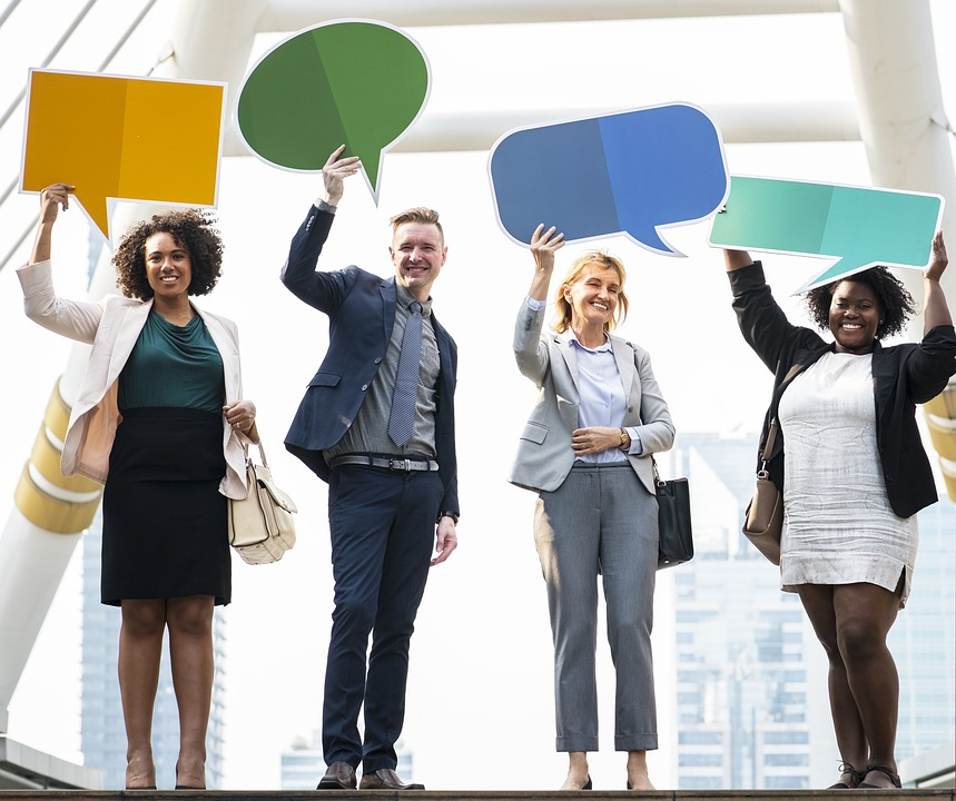 女性, 男, グループ, オフィス, チームワーク, アフリカ, アフリカ系アメリカ人, お知らせ, 発表