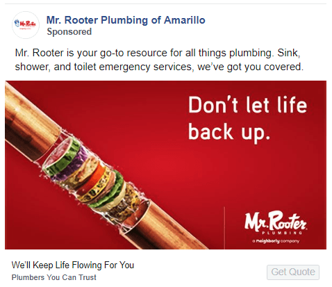 Mr. Rooter ad - strategic copy example 4
