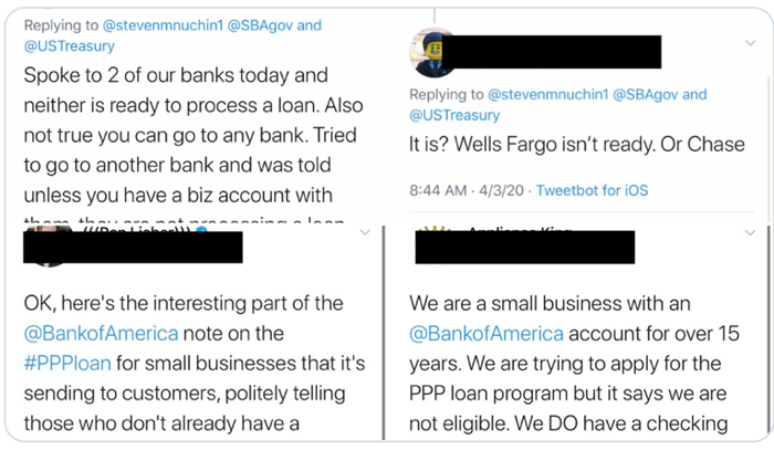 Tweet from small business dealing with PPP loan application issue during COVID-19 pandemic, SBA, Wells Fargo and Bank of America