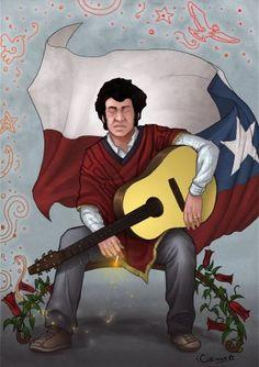 Image result for victor jara with guitar illustration small size